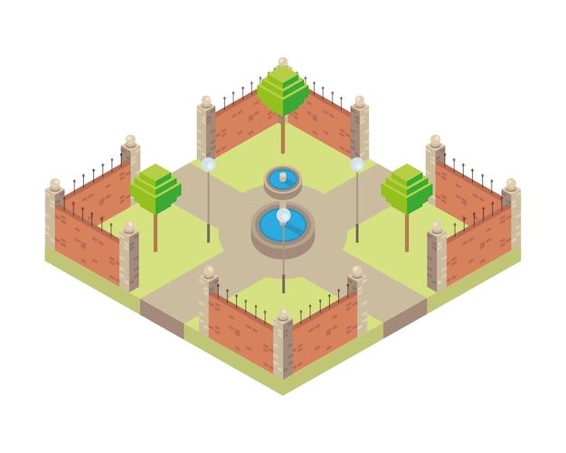 Parque con diseño de ilustración de icono de estilo isométrico de escena de fuente de agua