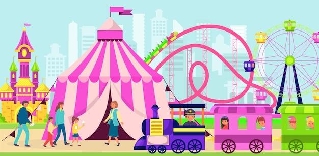Parque de entretenimiento de diversiones, la familia asiste al lugar de la montaña rusa.
