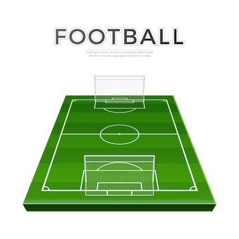 Parque de fútbol realista con puertas. vector de fútbol campo de hierba campeonato de fútbol
