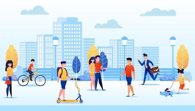 Parque con la ilustración de vector de dibujos animados diferentes personas diferentes. hombre moviéndose en scooter, chico montando bicicleta. chica caminando con perro.