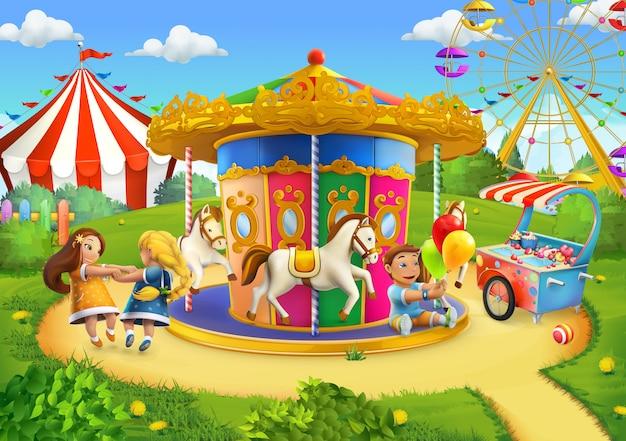Parque, ilustración vectorial de juegos