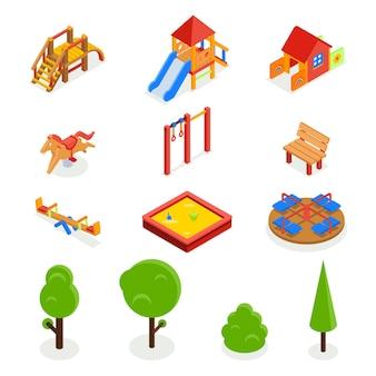 Parque infantil 3d isométrico. conjunto de iconos, tobogán de carrusel de banco, balancín y caja de arena, ilustración vectorial