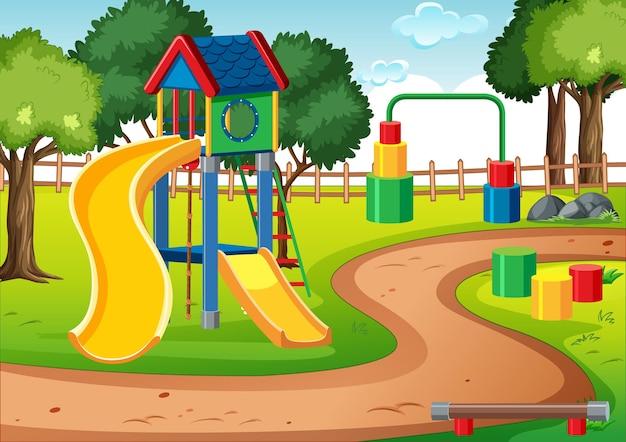 Parque infantil en blanco con toboganes en la escena.