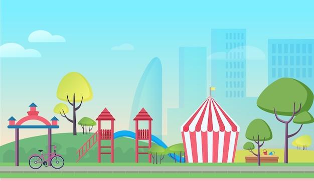Parque infantil de dibujos animados en la gran ciudad
