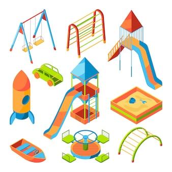 Parque infantil isométrico con diferentes juguetes.