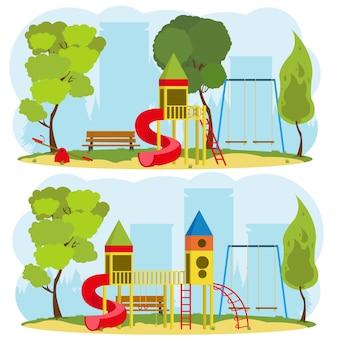 Parque infantil en un parque de la ciudad