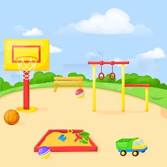 Parque infantil parque de dibujos animados divertido jugar kid kindergarten ilustración niño equipo al aire libre.