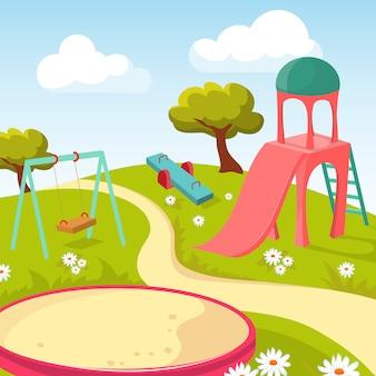 Parque infantil recreativo con ilustración de equipo de juego.