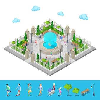 Parque isométrico parque de la ciudad. personas activas al aire libre. ilustración vectorial