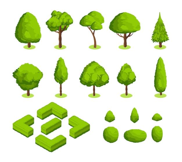 Parque isométrico del vector 3d y árboles y arbustos del jardín. colección de plantas de bosque verde.