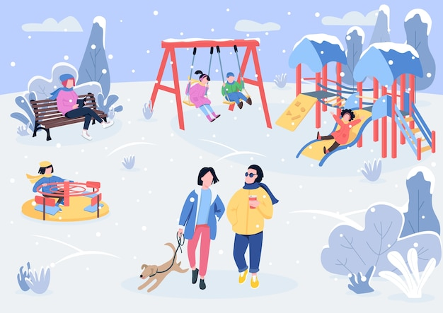 Parque de juegos de invierno con visitantes ilustración en color plano