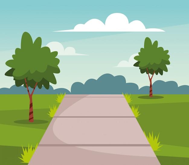 Parque natural con árboles y senderos dibujos animados de paisajes.