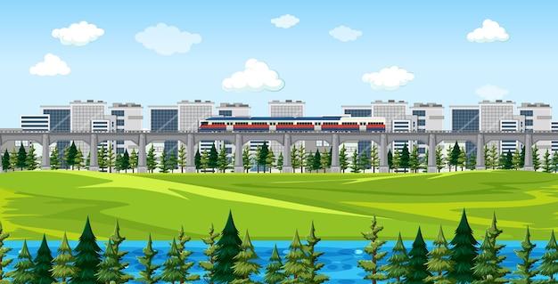 Parque natural de la ciudad con tren en la escena del paisaje del horizonte