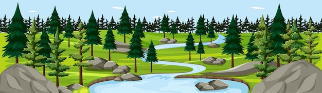 Parque natural con escena de panorama de paisaje de río