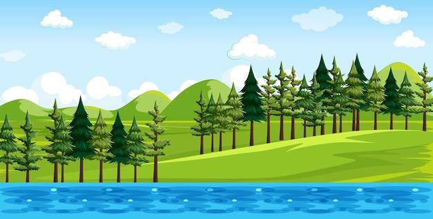 Parque natural con paisaje junto al río.
