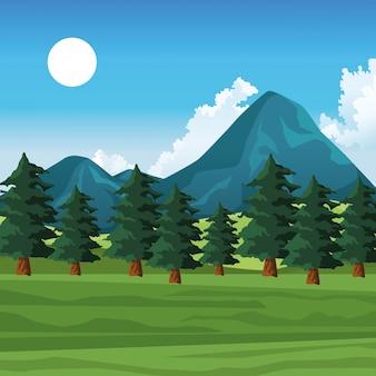 Parque natural paisaje paisaje dibujos animados