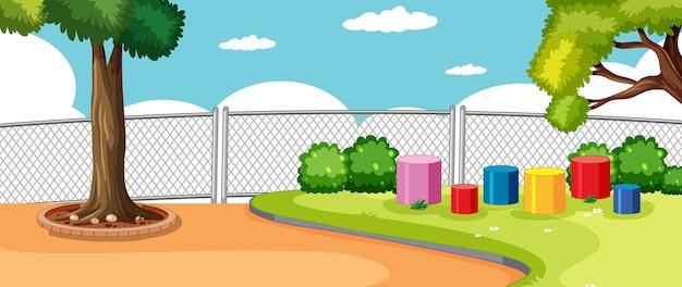 Parque o patio de recreo en la escena de la escuela con cielo en blanco.