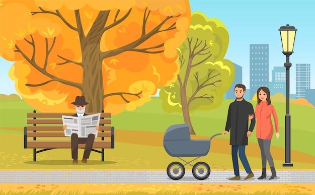 Parque de otoño, padres con cochecito y anciano