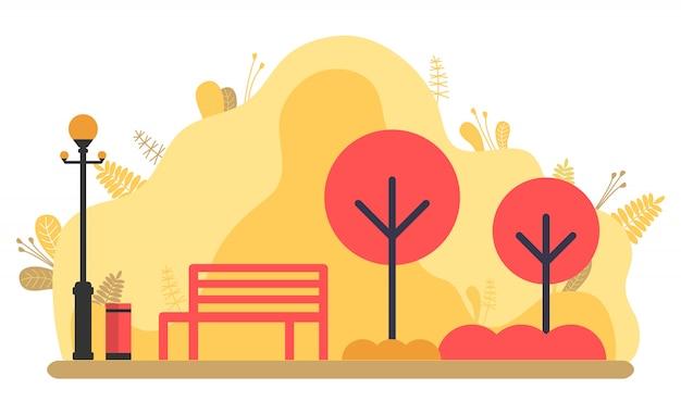 Parque en otoño, vector de flora y arbustos otoñales