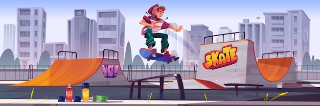 Parque de patinaje con niño en patineta. paisaje urbano de dibujos animados de vector con rampas, graffiti en las paredes, aerosoles para dibujar y salto adolescente en la pista. zona de juegos para deportes extremos