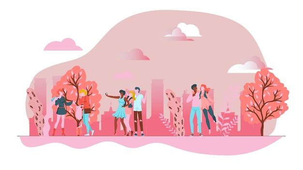 Parque de primavera rosa con pueblos divertidos, paisaje urbano al aire libre, ilustración, en blanco. edificios de fondo, hombres y mujeres caminando en el parque entre árboles a lo largo de la ruta