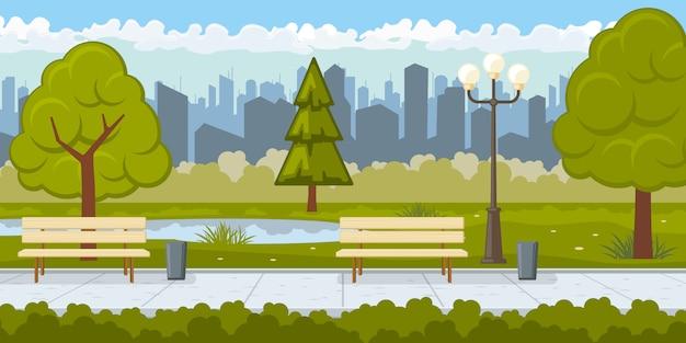 Parque público con ilustración de camino de asfalto