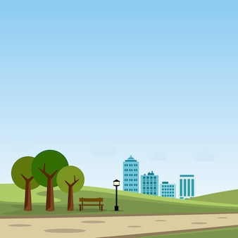 Parque público en la ilustración de vector de ciudad