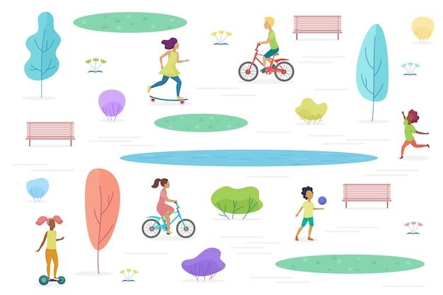 Parque público con niños caminando, montando y jugando aislados. parque de atracciones para niños ilustración.