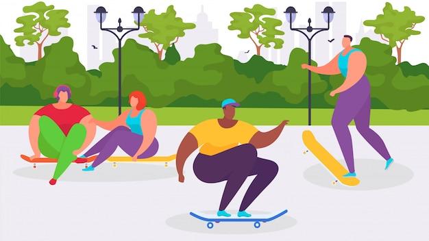 Parque de skate con niño y niña, ilustración. personaje de dibujos animados jóvenes con patineta, actividad deportiva en la ciudad.