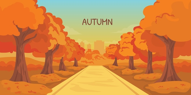 Parque temporada de otoño con fondo de construcción