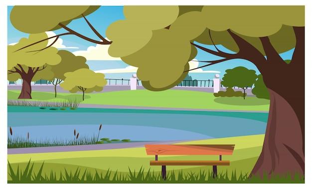 Parque tranquilo con banco de madera en ilustración lago