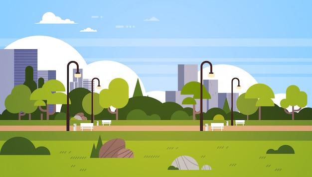 Parque urbano al aire libre edificios de la ciudad farolas paisaje urbano concepto horizontal plano
