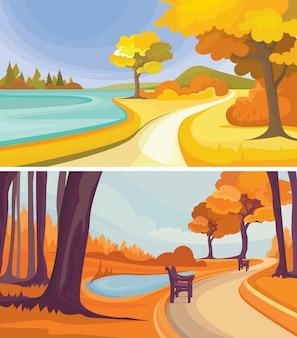 Parques de otoño junto al lago. paisajes hermosos de la naturaleza.