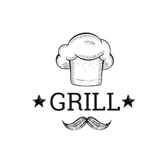 Parrilla y barbacoa bosquejo logo con gorro de cocinero y bigote.