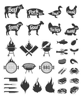 Parrilla de barbacoa y etiquetas de asador y elementos de diseño.