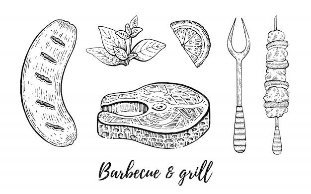 Parrilla y barbacoa reataurant menú boceto conjunto.