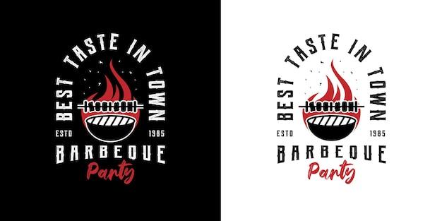 Parrilla de barbacoa rústica retro vintage, barbacoa, diseño de logotipo de sello de etiqueta de barbacoa