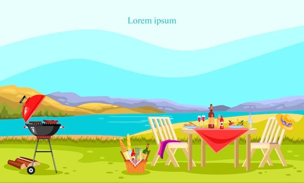 Parrilla y picnic con brasero, muebles de jardín, canasta con comida, vino, fruta