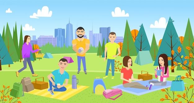 Parrilla, picnic juntos en el parque de estilo de vida feliz.