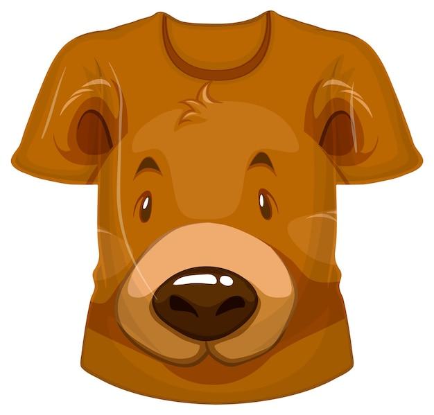 Parte delantera de la camiseta con estampado de oso grizzly