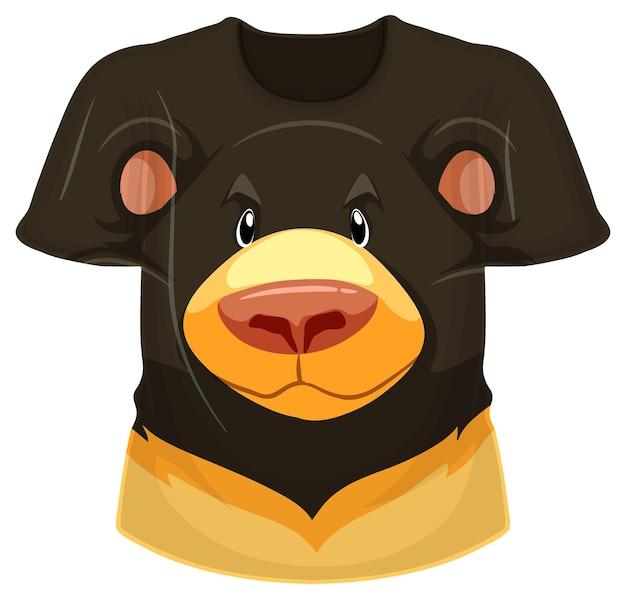 Parte delantera de la camiseta con estampado de oso negro