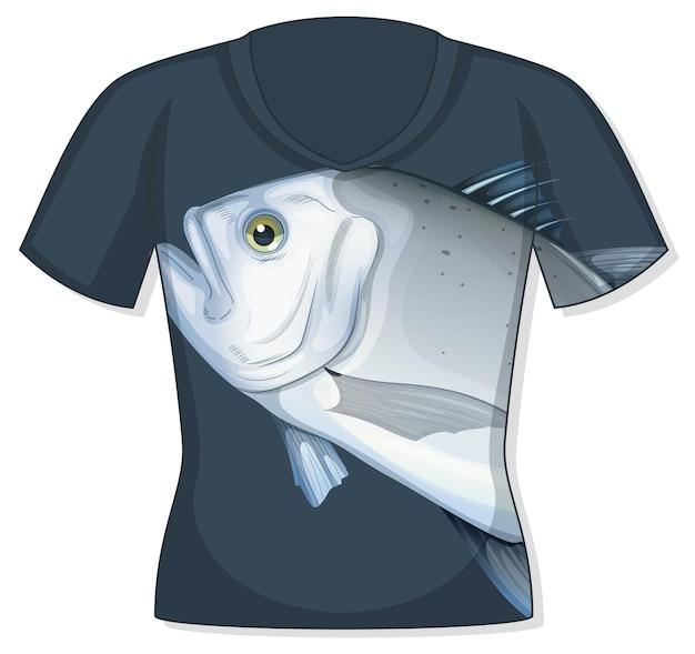 Parte delantera de la camiseta con estampado de peces