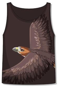 Parte delantera de la camiseta sin mangas sin mangas con estampado de halcón