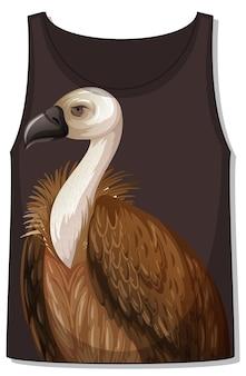Parte delantera de la camiseta sin mangas sin mangas con patrón de buitre