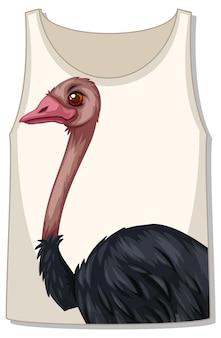Parte delantera de la camiseta sin mangas con plantilla de avestruz