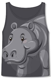 Parte delantera de la camiseta sin mangas con plantilla de hipopótamo