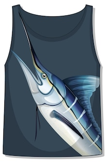 Parte delantera de la camiseta sin mangas con plantilla de pez marlin