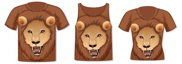 Parte delantera de la camiseta con plantilla de cara de león