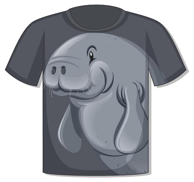 Parte delantera de la camiseta con plantilla de manatí
