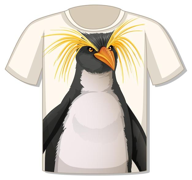 Parte delantera de la camiseta con plantilla de pingüino